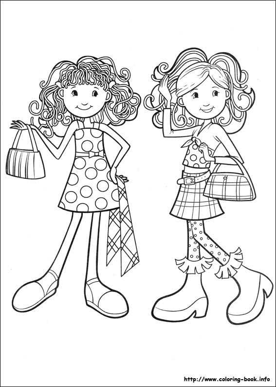 groovy girls coloring picture - Girls Coloring Book