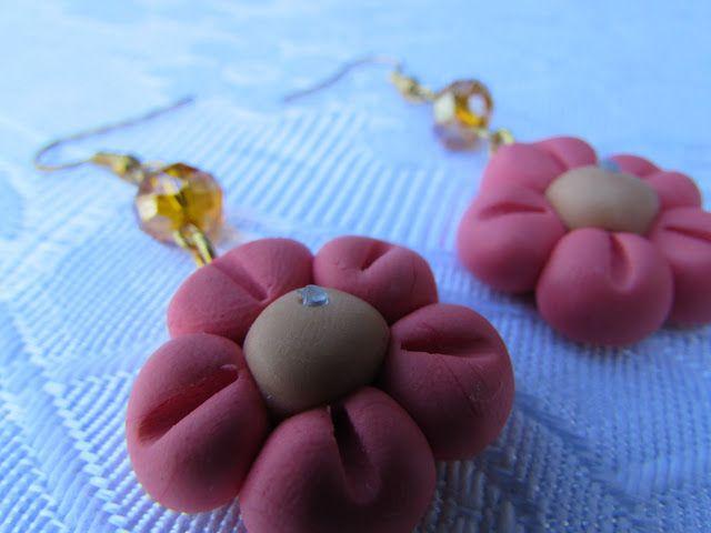 il gioiello pazzo: Orecchini fimo fiore rosa