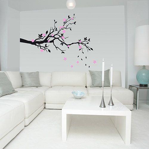 Adesivo de Parede Cerejeira Floral Cherry Blossom Stixx Adesivos Criativos Preto/Rosa (185x141cm)
