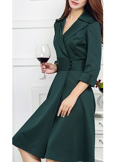 Button Design Deep Green Long Sleeve Dress on sale only US$35.84 now, buy cheap Button Design Deep Green Long Sleeve Dress at lulugal.com