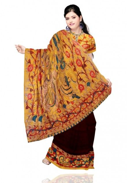 #Brown Colored Kalamkari #Designer Saree