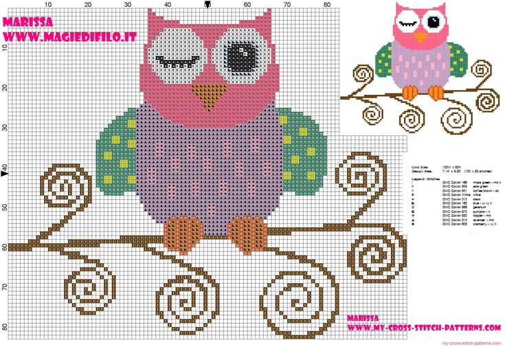 cross-stitch pattern of beautiful colored owl on branch