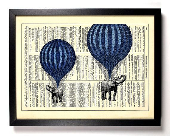 Hot air balloon elephants home kitchen nursery office for Balloon decoration book