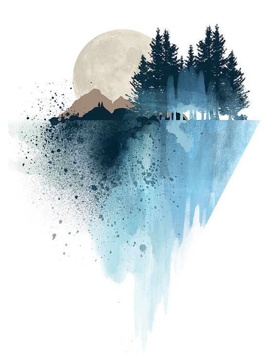 Modern watercolor blue mountain wall art print, nature design, home wall decor…