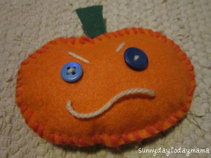 Homemade moody pumpkin (with link to tutorial) http://sunnydaytodaymama.blogspot.co.uk/2012/10/pumpkin-pal-teddy-and-homemade-pumpkins.html