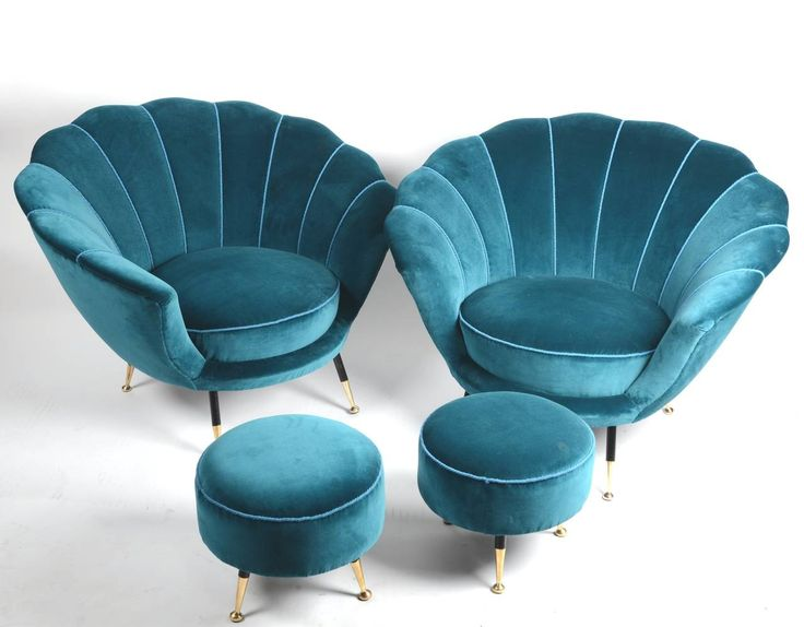 Pair of Easy Chairs with Stools, Italian, 1950s, in the Style of Ico Parisi | From a unique collection of antique and modern lounge chairs at https://www.1stdibs.com/furniture/seating/lounge-chairs/