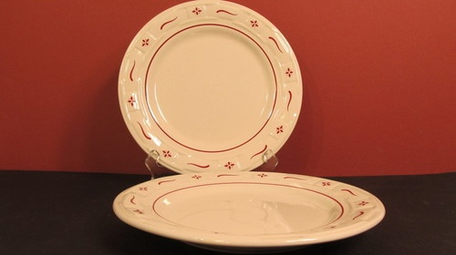Set of 4 Longaberger Pottery Classic Red Woven Traditions Dinner Plates Retired