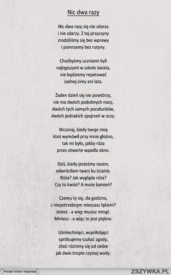 Nic dwa razy - W. Szymborska