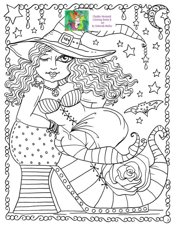Instant Download Sexy Shoe Witch Chubby Cute Halloween Fun Coloring Page