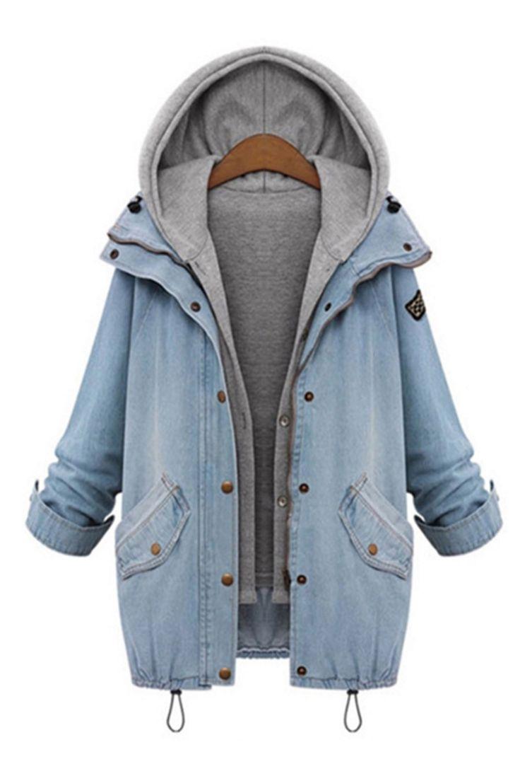Hooded Drawstring Boyfriend Trends Jean Pockets Coat - 2 Pieces