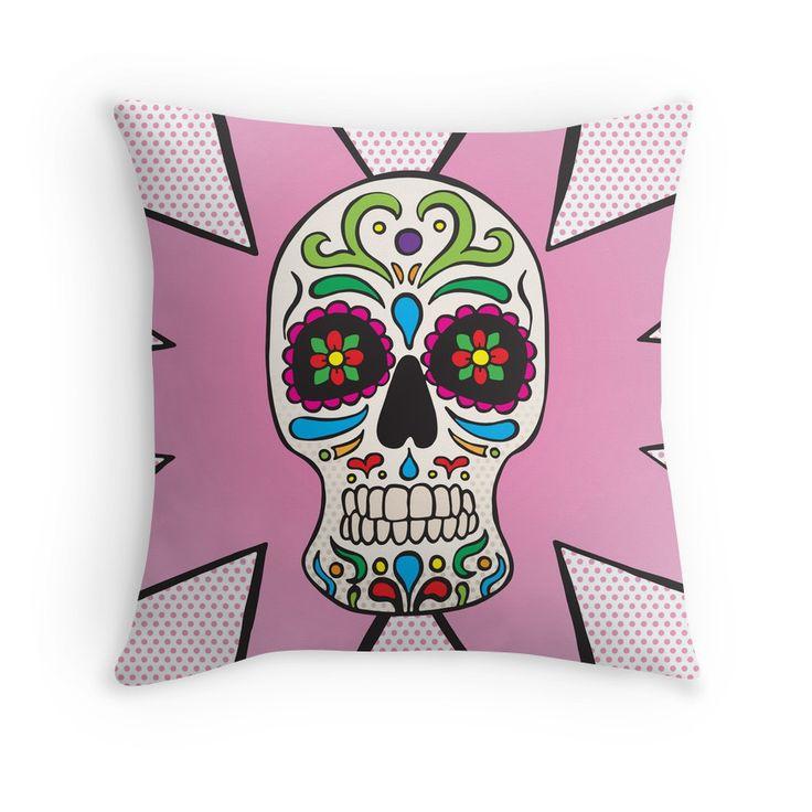 Throw Pillow - Sugar Skull #popart #homedecor #redbubble
