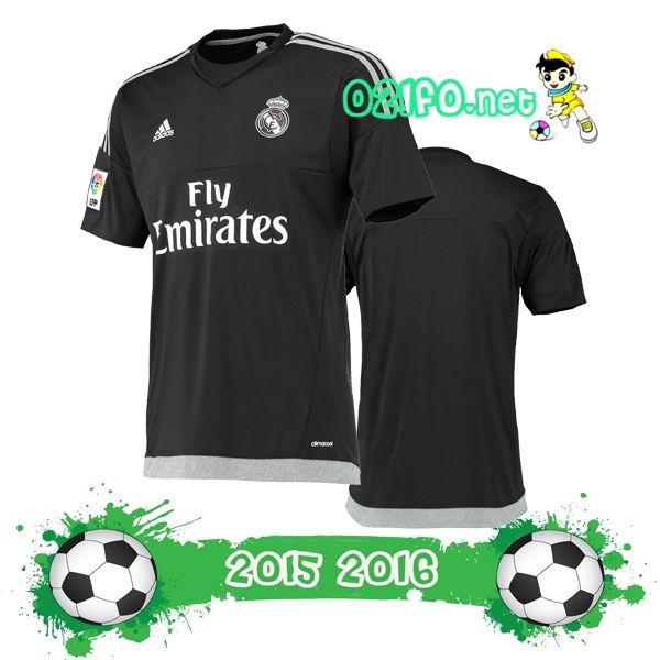Boutique Officielle maillot gardien de but real madrid 2015 2016 domicile manche courte noir Pas Chere En Ligne