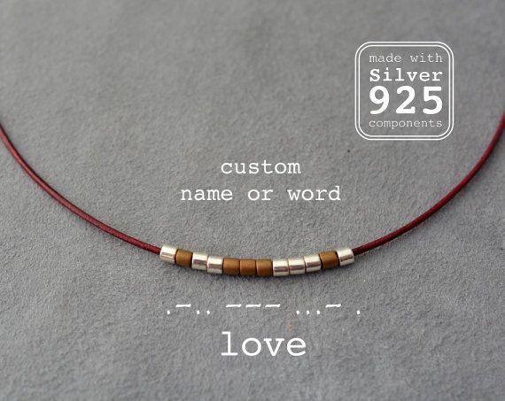 Medida código Morse mensaje secreto collar, collar nombre personalizado, fino cuero, collar Chocker, minimalista, simple, plata 925