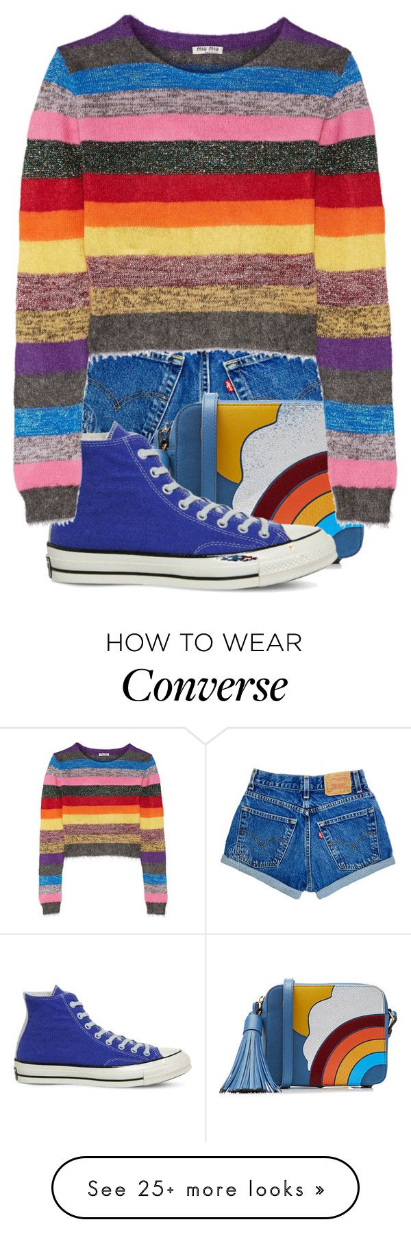 """""""Fashion Rainbow"""" by thelunaluchicloset on Polyvore featuring Anya Hindmarch, Converse and Miu Miu"""