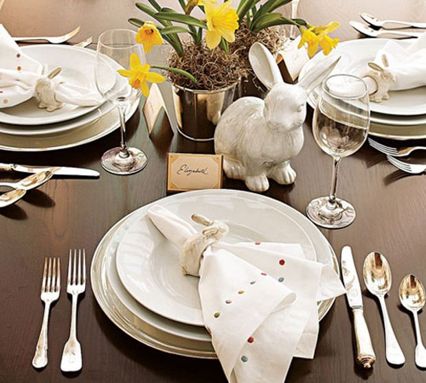Mesa decorada para a páscoa!!: Tables Sets, Decor Ideas, Dica Cor-De-Rosa, Easter Bunnies, White Decor, Easter Decor, Classic White, Places Sets, Pottery Barns