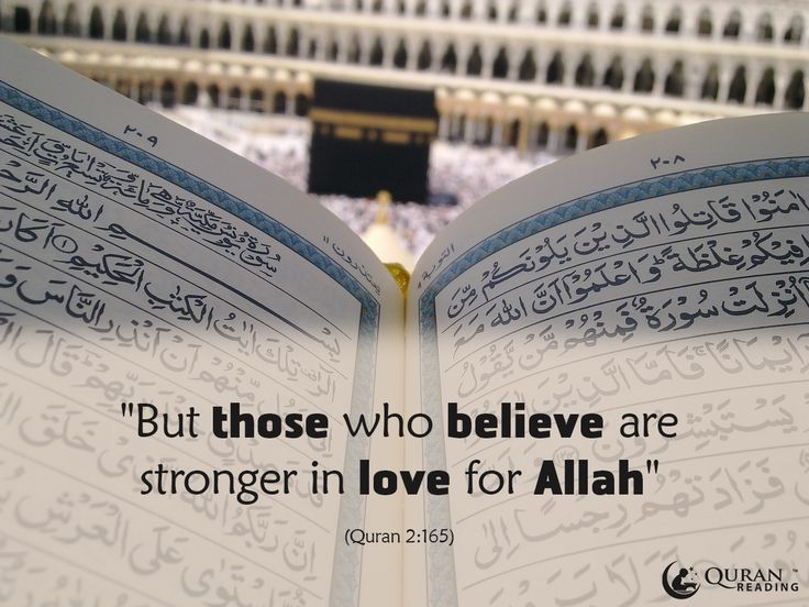 """""""But those who believe are stronger in love for Allah ."""" (Quran 2:165)"""