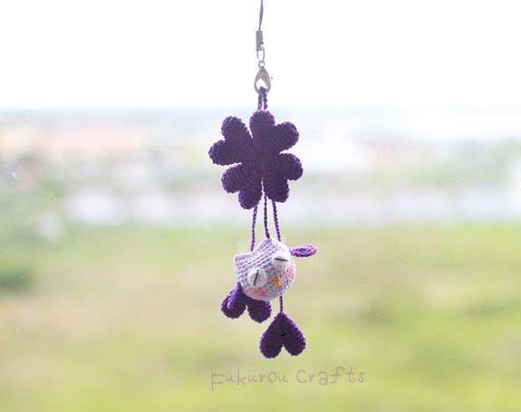 fukuroucrafts: Crochet Lucky charms, lucky doll, purple  owl doll...