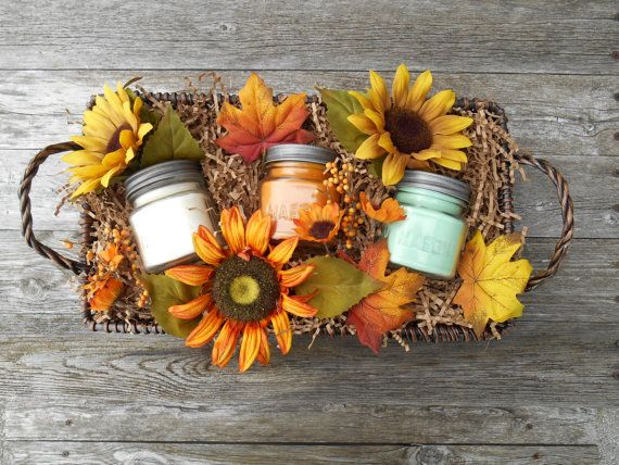 Fall Sunflowers Wood Wick Soy Candles Gift Basket Rustic Fall Leaves by SandyLandStudio on Etsy