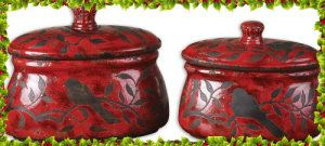 "Uttermost Siana Red Ceramic Canisters Set/2 [Kitchen] NoPart: 19660 Color — Red  Style — Traditional  Family — Siana  Product Type — ""Home &  Garden > Lighting"" http://theceramicchefknives.com/ceramic-canister-sets-beautiful-long-lasting-gifts/ Canister Set with Clamp Top Lid and a Wood Spoon, Ceramic Canister Set with Clamp Top Lid, Ceramic Canister Set with Clamp Top Lid and a Wood Spoon,"