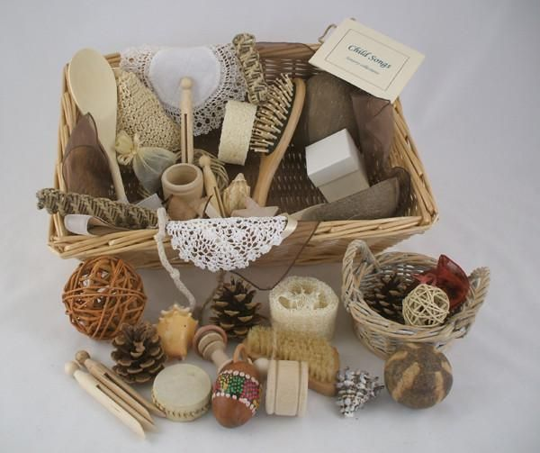 A super selection of natural objects that babies prefer to the brightly coloured plastic toys they are often presented with. These objects offer much more scope for discovery and learning covering a spectrum of different weights, textures and sizes. The standard basket is ideal for one baby, whereas the group basket, is ideal for nursery use