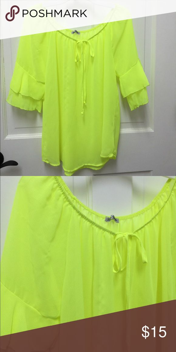 PEASANT TOP NEON YELLOW Neon yellow top size. NWOT. Never worn Tops Blouses