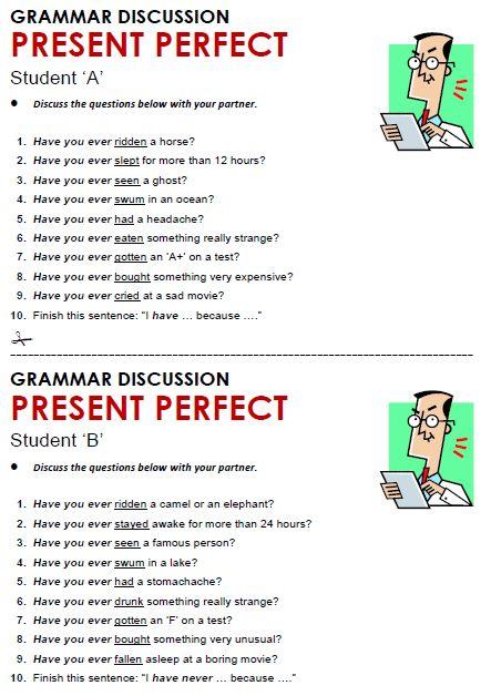 Present Perfect Continuous ESL Grammar Game Exercise