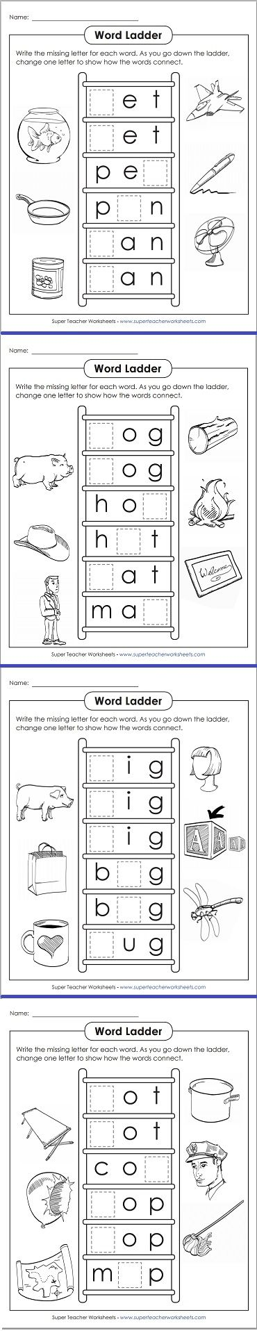 Take a look at these fun word ladders for phonics practice!                                                                                                                                                                                 More