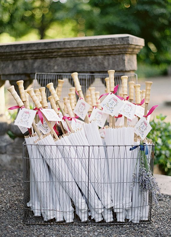 Parasols are such an elegant way to keep your guests cool out an outdoor venue! French inspired wedding at Beaulieu Garden | Photo by Jose Villa | Read more - http://www.100layercake.com/blog/?p=75449