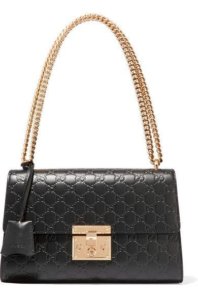 GUCCI Padlock Medium Embossed Leather Shoulder Bag