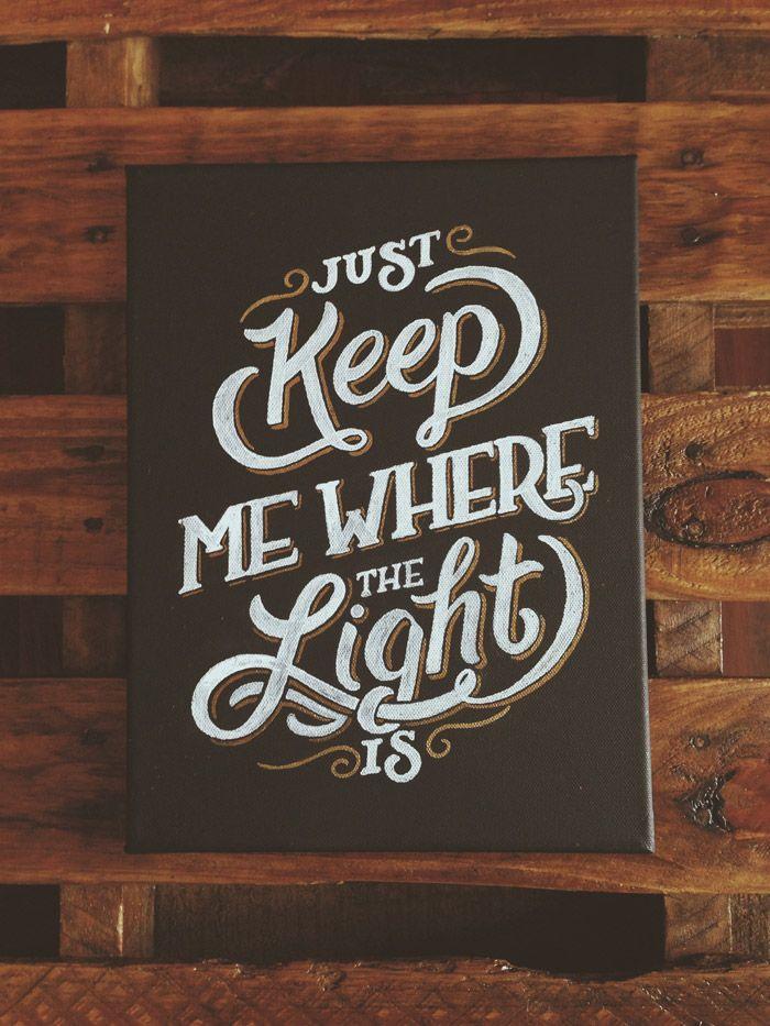 Hand-lettered John Mayer lyrics by Joshua Phillips // White and gold paint pen on black canvas