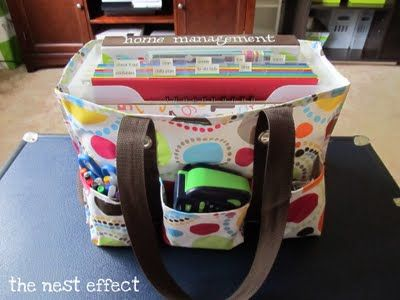 """Ideas for using a """"31 Gifts"""" Organizing Uitility Tote for home organization; adaptable for my classroom! Especially awesome since I transport my planning materials from home to school each day!"""