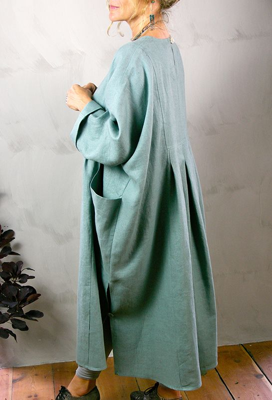New Baggy Dress (back) in heavy linens, many colours available.
