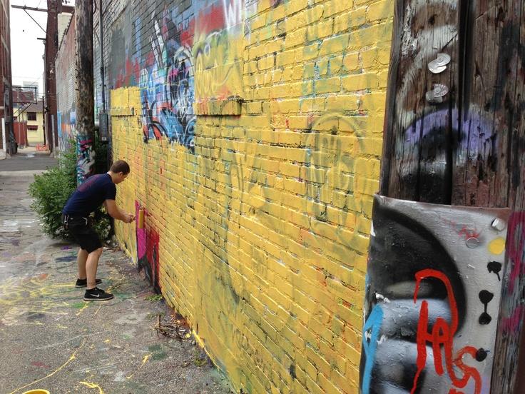 Getting ready to get busy. Kansas City graffiti.