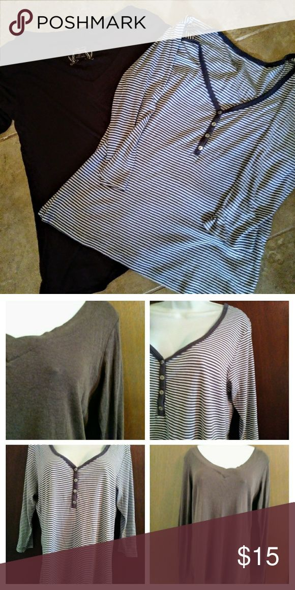 Fall Tee Shirt Bundle Two tees for one price.  One is Vneck in choclate brown with long sleeves.  One is brown and white striped vneck with 3/4 sleeves.  Both comfy and casual XL Old Navy Tops Tees - Long Sleeve