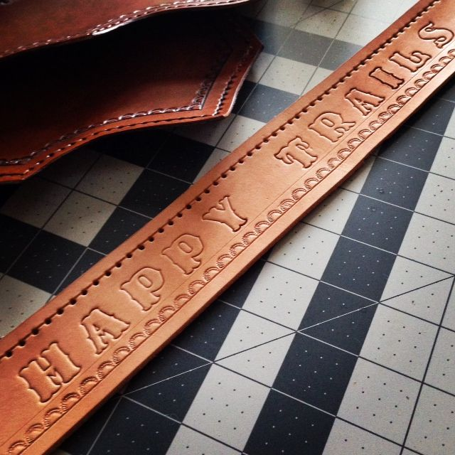 Happy Trails Leather band.  Leather, Custom Leather, Texas Leather, Leather Gifts, Monogrammed Leather, Leather Belts, Monogrammed Leather.