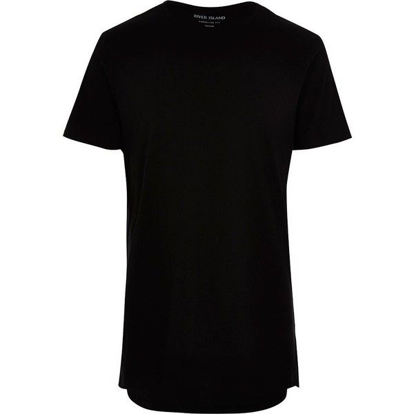 River Island Black longline T-shirt ($12) ❤ liked on Polyvore featuring men's fashion, men's clothing, men's shirts, men's t-shirts, black, mens tall shirts, mens short sleeve t shirts, mens crew neck t shirts, mens cotton t shirts and j crew mens shirts