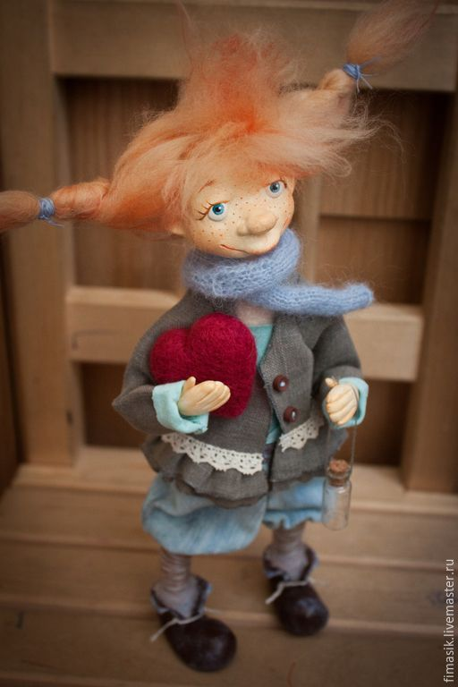Купить Кузенька - рыжая девочка, Рыжая, домовушка, сердечко, добрый подарок, настроение, душевный подарок