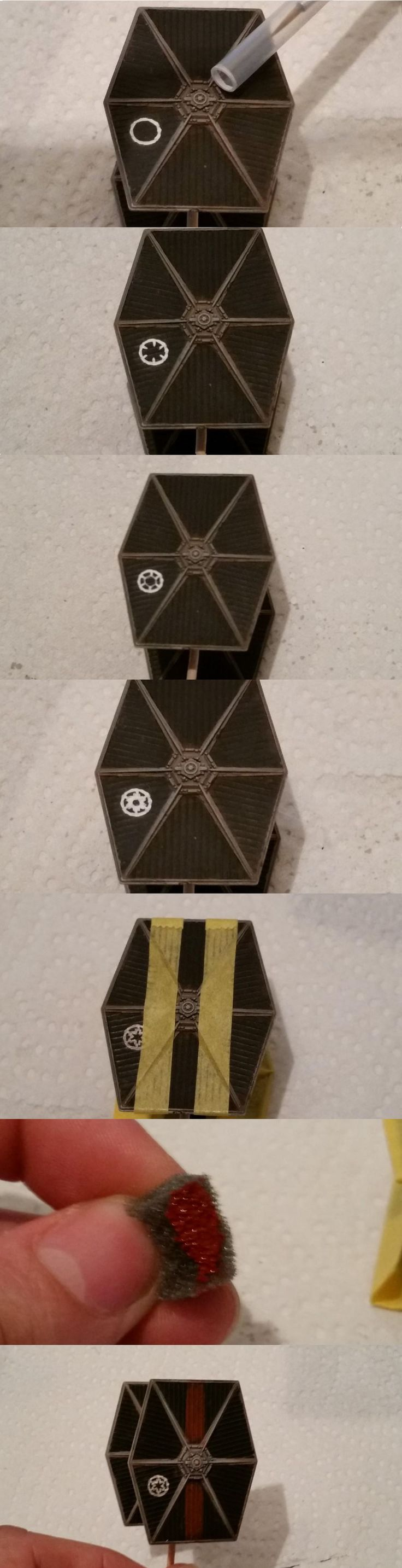 Tie Fighter tutorial by FearGFX on FFG forums http://community.fantasyflightgames.com/index.php?/topic/114424-how-to-paint-imperial-markings-on-a-tie-fighter/
