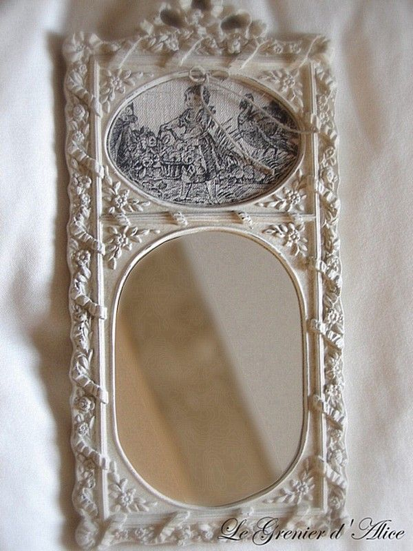 Cadre miroir toile de jouy album shabby vintage for Miroir french to english