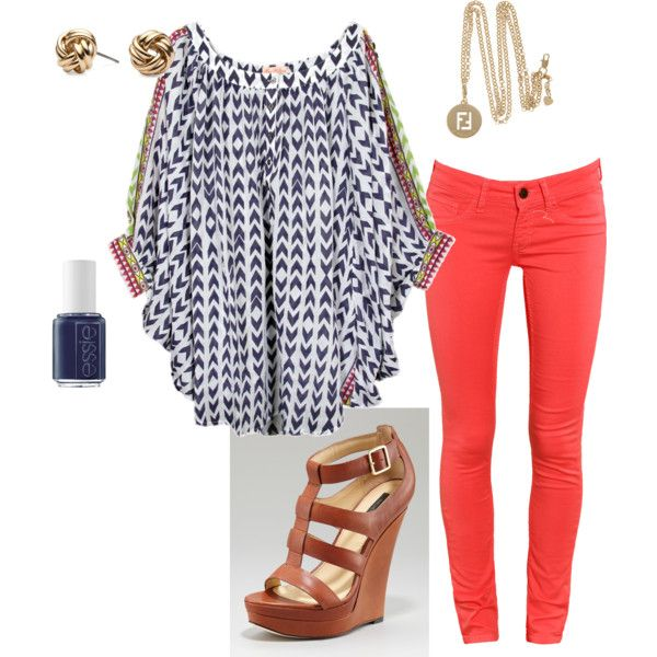 : Outfits, Coral Jeans, Coral Pants, Fashion, Summer Outfit, Style, Color, Top, Red Pants
