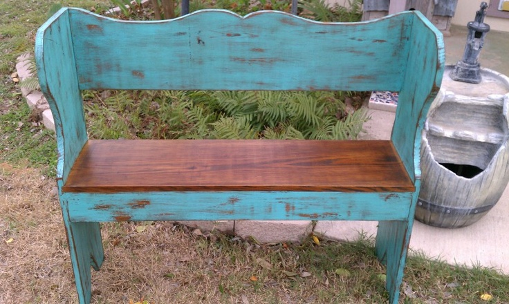 Distressed Turquoise Bench My Projects Pinterest I Want Purple And Turquoise