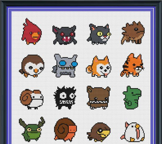 Digital Download Castle Crashers Cross Stitch Pattern Features 28 Animal Orbs Final Product Measures 290 St Cross Stitch Patterns Stitch Patterns Cross Stitch