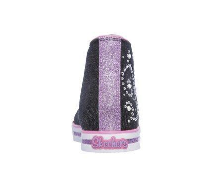 Skechers Kids' Twinkle Toes Pearly Girl Sneaker Pre/Grade School Shoes (Black/Hot Pink)