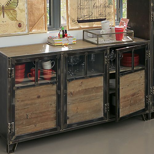 Ware - Buffets-Buffets, Vaisseliers Buffet 3 portes en pin, acier et verre
