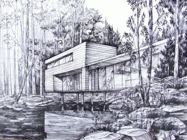 Modern houses - concepts by Ksymena Borczyńska, via Behance Sketch