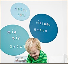 Magnetic boards in different colors - cute!