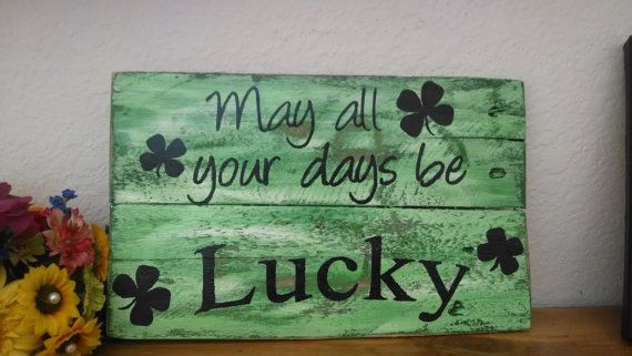 St. Patricks Day pallet board sign rustic wall by EdisonAvenue