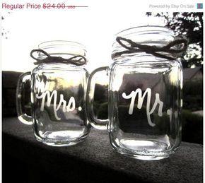 Mason Jar Wedding Mr. Mrs. Mugs Mason Jar by EtchedExpressions, $21.60