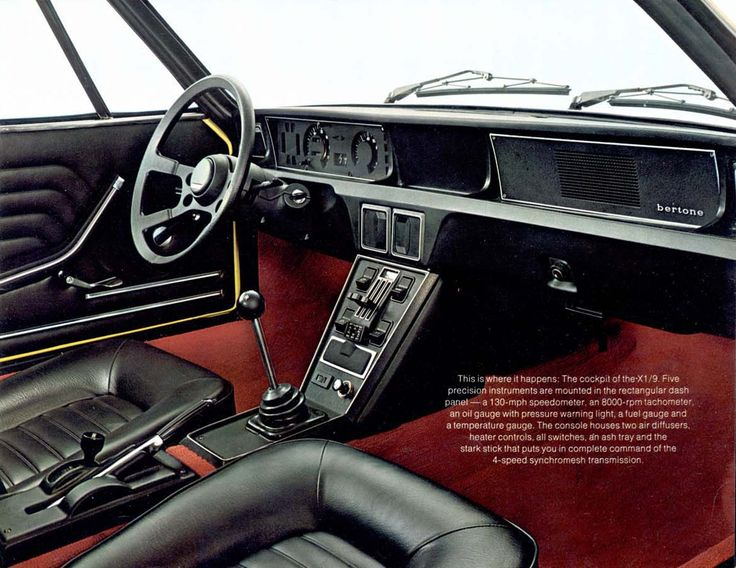 Fiat X/19 interior: A nearly perfect driving environment.