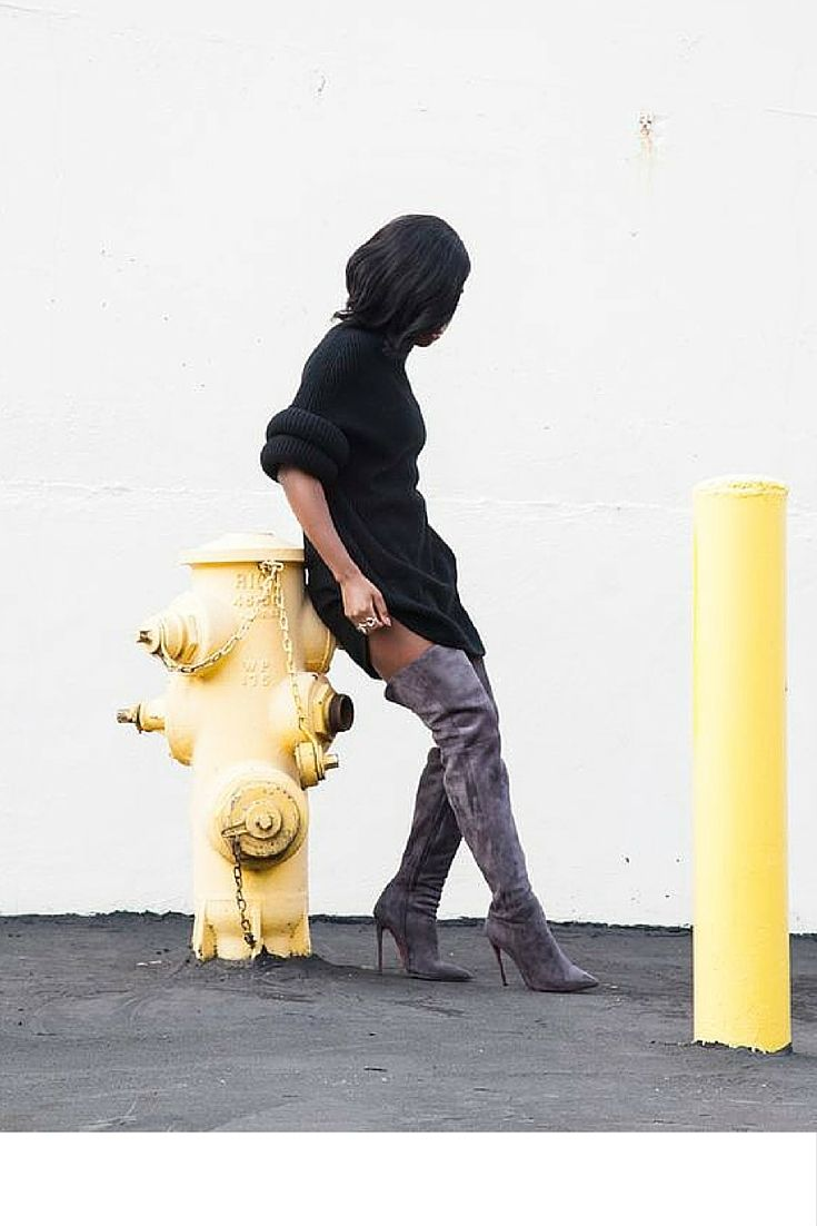 sneakers and pearls, street style, what to wear on a weekday, black knit dress with grey thigh high suede boots , trending now.jpg